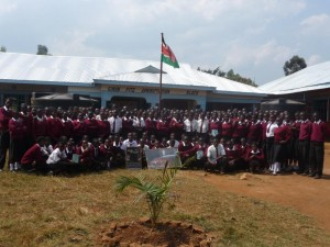 Pupils in front of the administration block.