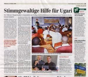 """Pressebericht Tiroler Tageszeitung vom 21.10.2009: """"Stimmgewaltige Hilfe für Ugari"""""""