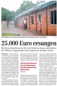 TT vom 29.10.2009: 25.000 Euro ersungen