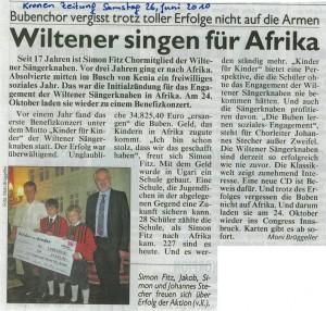 Kronenzeitung vom 26.06.2010: Wiltener singen für Afrika