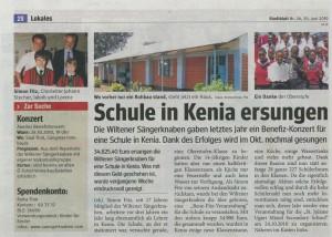 "Stadtblatt vom 30.06.2010: ""Schule in Kenia ersungen"""