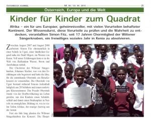 Österreich Journal vom 03.08.2010: Kinder für Kinder zum Quadrat (1/2)