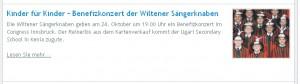 Screenshot: Benefizkonzert Ankündigung auf der Startseite des Congress Innsbruck