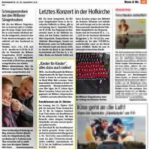 Bezirksblatt Telfs vom 08.09.2010: Kinder für Kinder - alles dazu auch online!