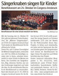 """Bezirksblatt: """"Sängerknaben singen für Kinder"""" (13.10.2010)"""