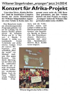 Tiroler Kronenzeitung vom 27.10.2010: &quot;Konzert fr Afrika-Projekt&quot;