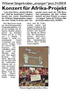 """Tiroler Kronenzeitung vom 27.10.2010: """"Konzert für Afrika-Projekt"""""""