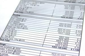 Auszug der Kostenaufstellung für zwei neue Klassenräume