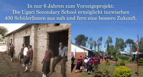 Die Ugari Secondary School. Damals: 28 SchülerInnen, in zwei halbfertigen Klassenzimmern. Heute: Eine Vorzeige-Institution mit über 400 SchülerInnen.