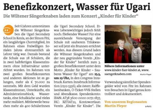 """Benefizkonzert, Wasser für Ugari"" - Tiroler Bezirksblätter am 07.05.2014"